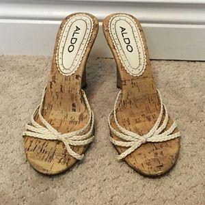 ALDO white wedge sandal, size 7
